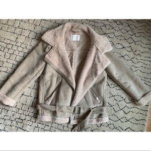 Zara suede/faux fur winter coat